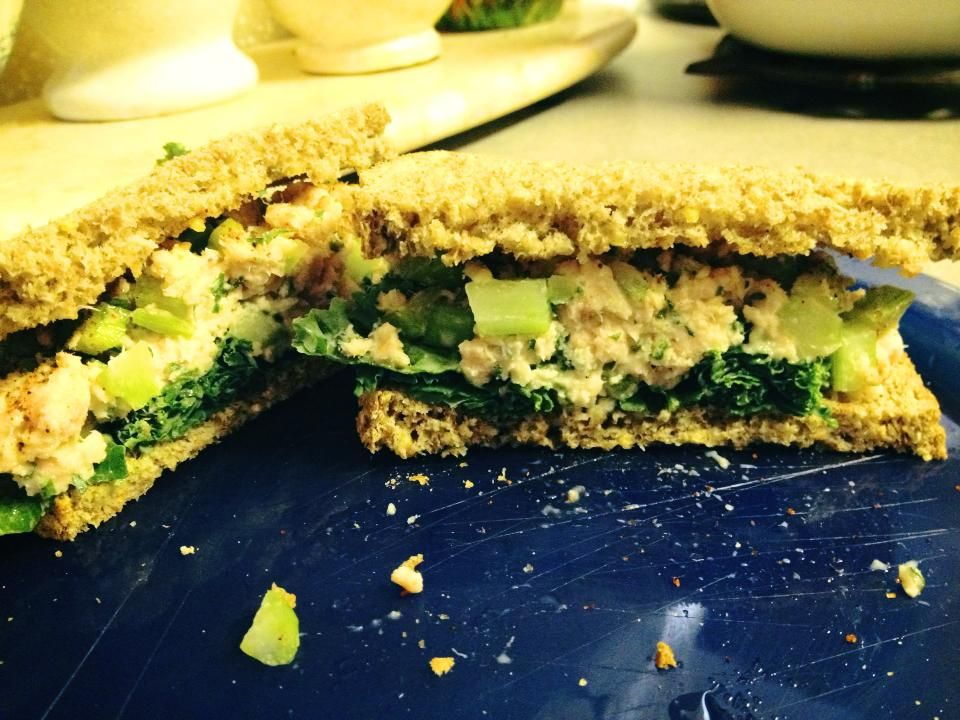 Tuna sandwich - I used a pouch of low sodium albacore tuna , 1 tbs plain Greek yogurt, 1 stalk of celery , dried chives, onion, dash of garlic powder, and pepper. Mixed up and placed on 2 toasted slices of low sodium Ezekiel bread.