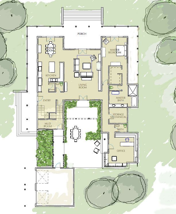 House Plans With Central Courtyard In 2020 Courtyard House Plans