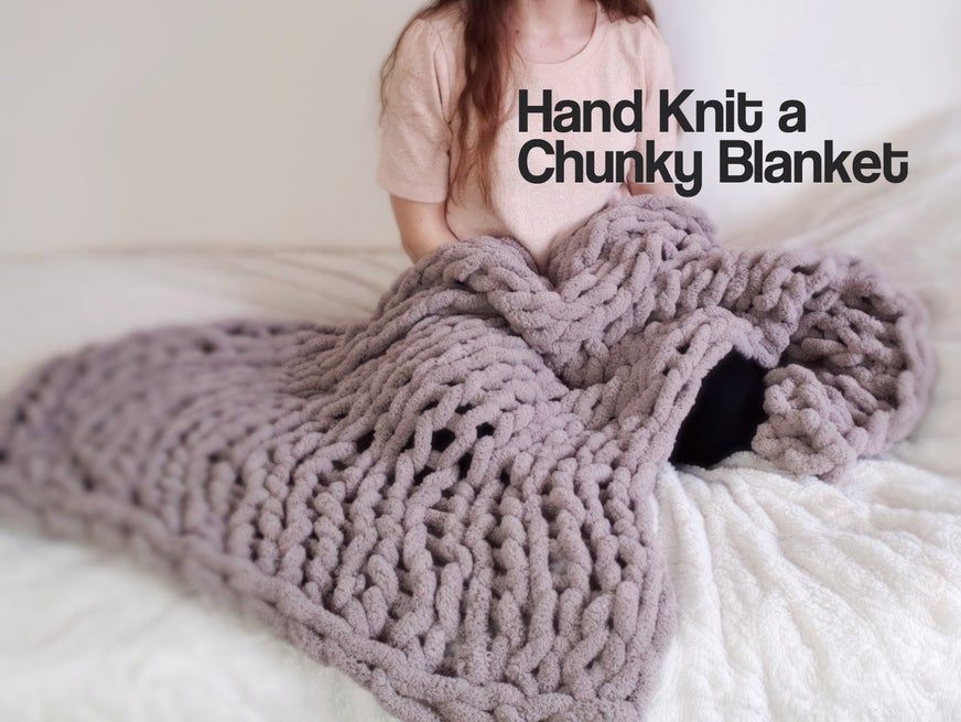Easy chunky handknitted blanket in one hour 9 steps