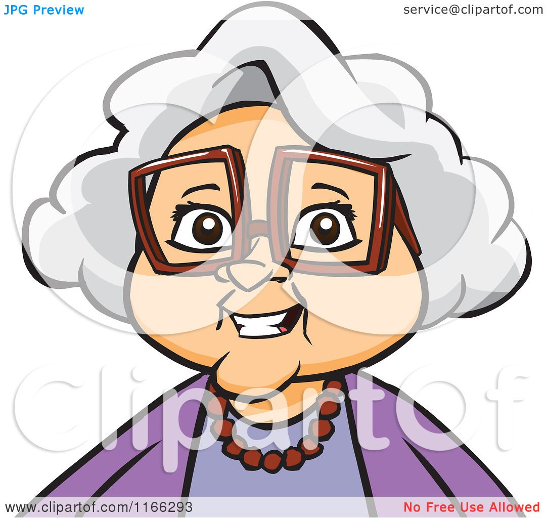 Cartoon Of A Granny Woman Avatar Royalty Free Vector