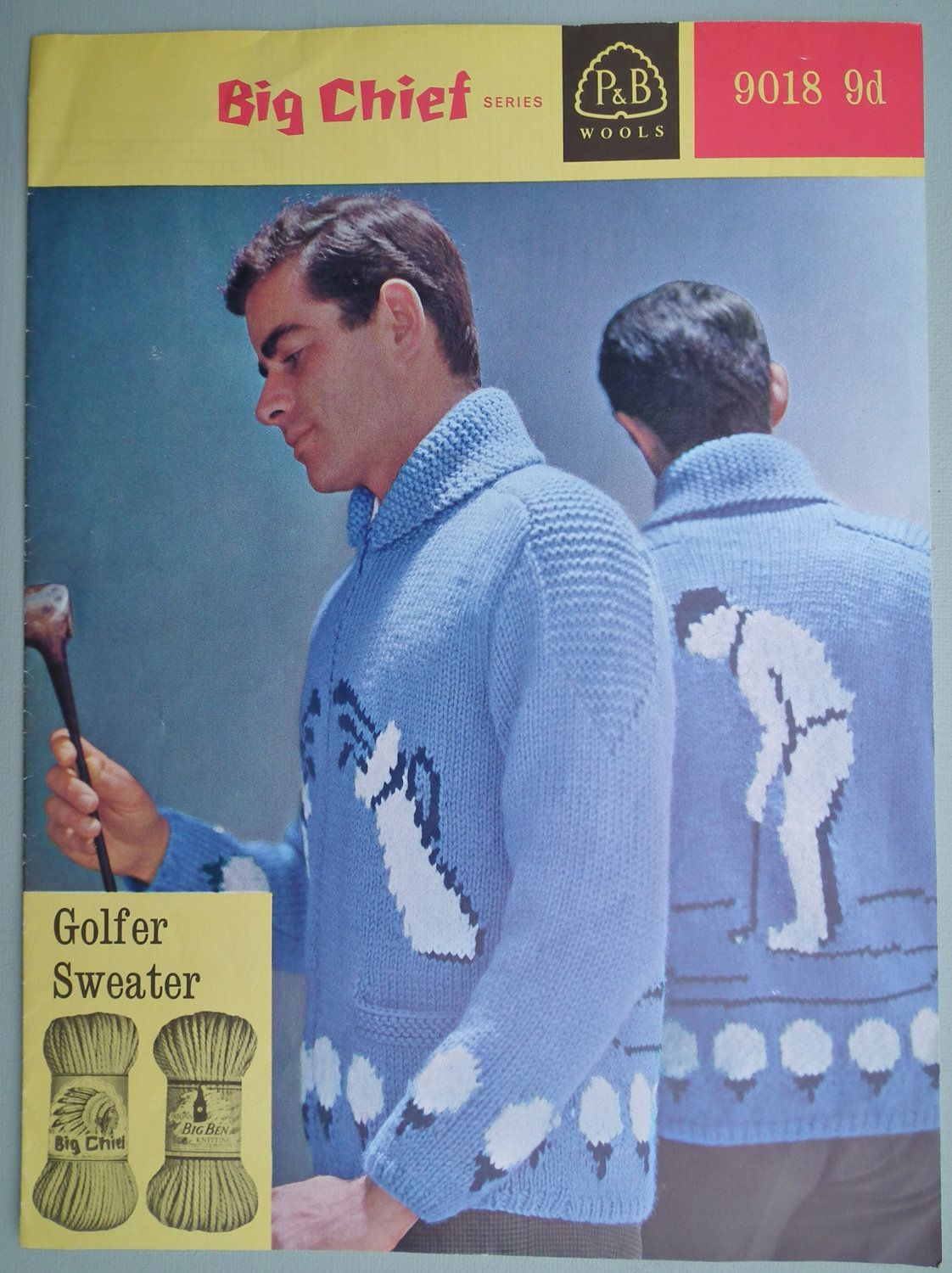 Vintage 1950s 1960s Knitting Pattern Mens Sweater With Golfing