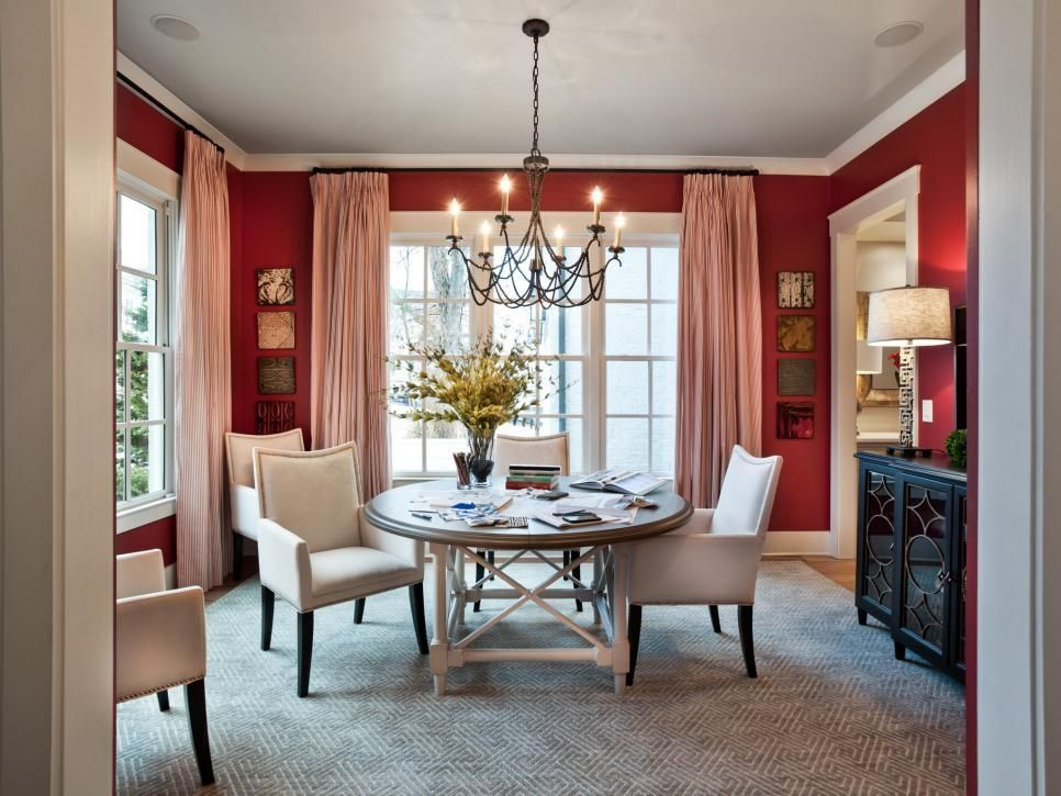 Casual Window Treatments for Dining Room Ideas   Red ...