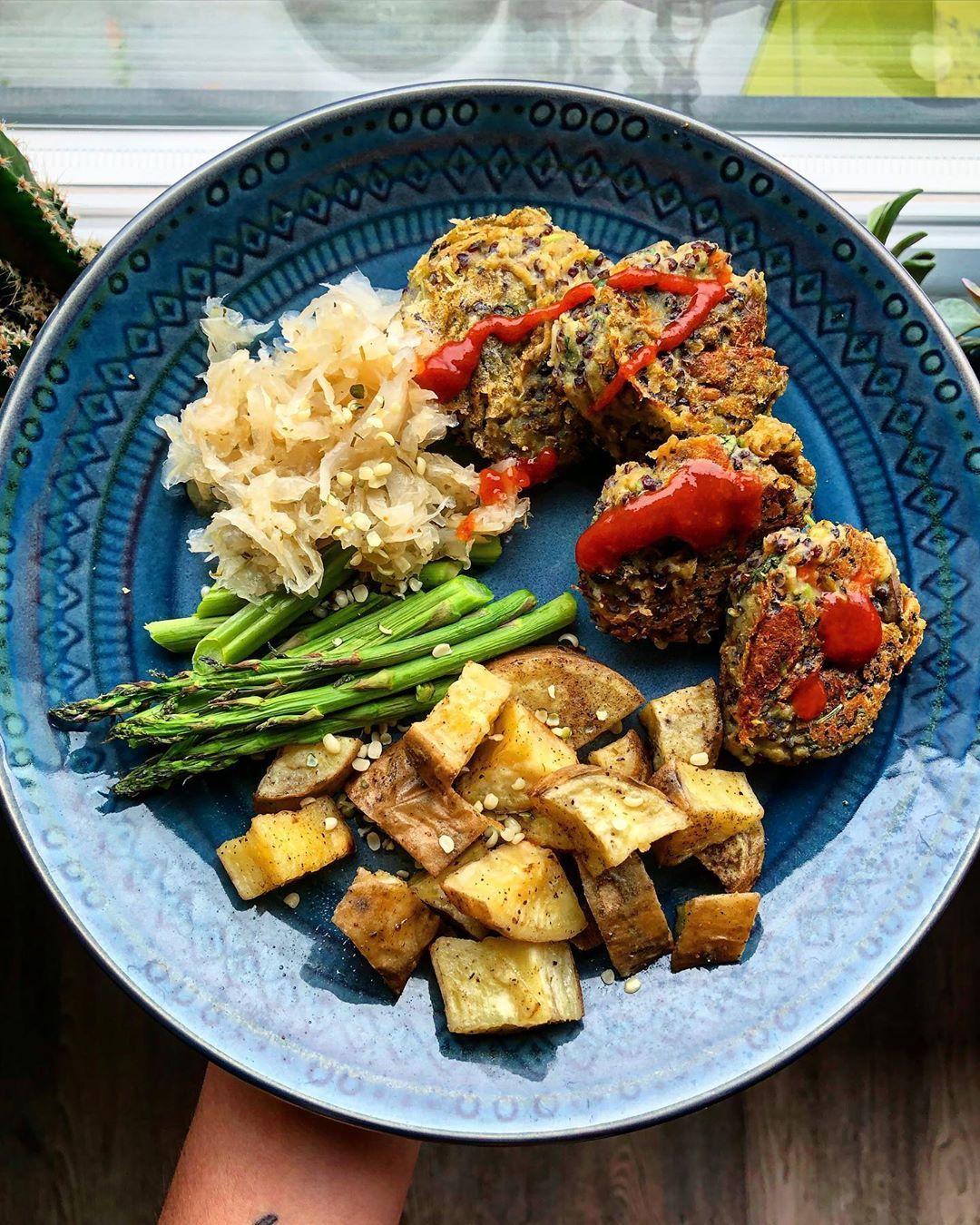 Quinoa chickpea patties, roasted white yams, asparagus and sauerkraut, post-run fuel. . . .