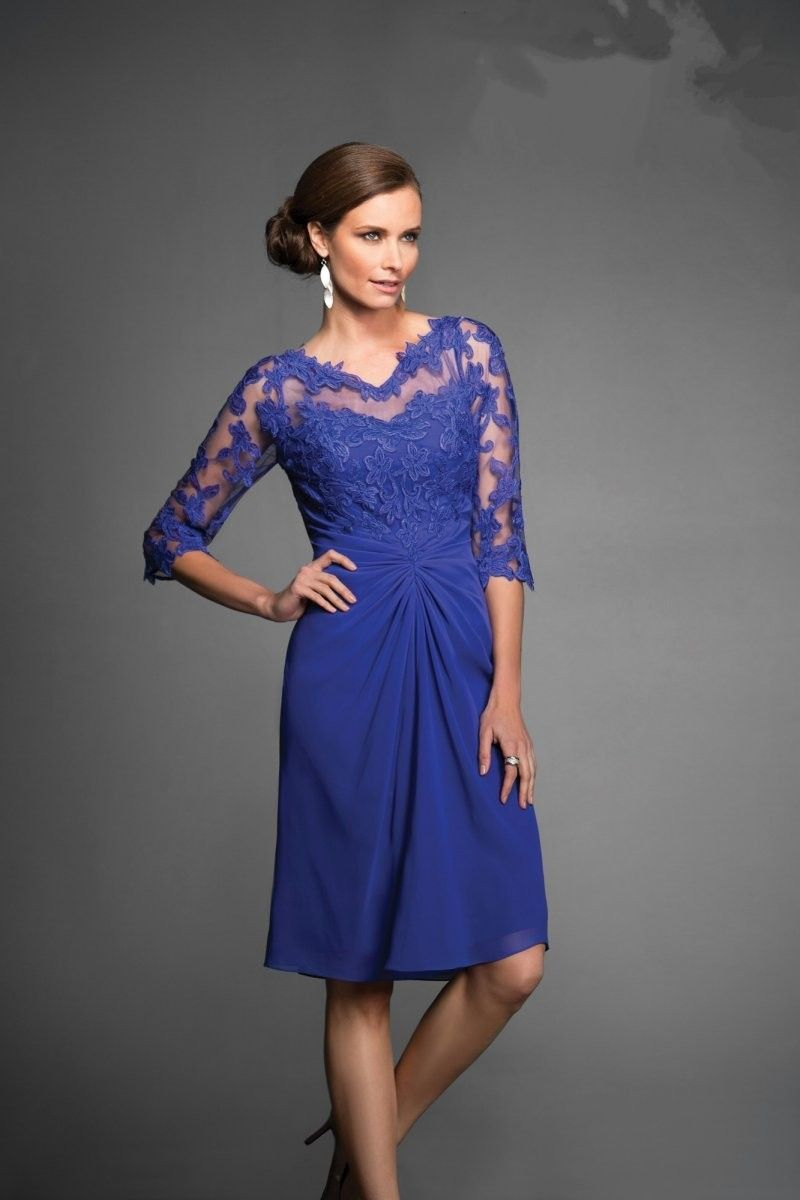 Gorgeous Illusion Knee Length Blue Chiffon Mother Of The Bride Dress ...