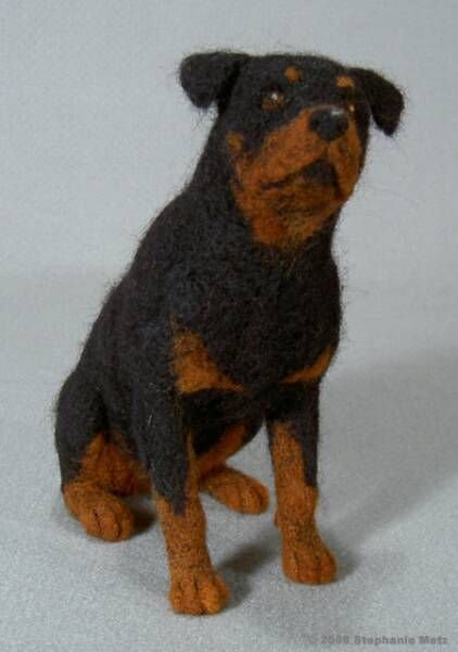 Rottweiler Portrait Of Yanna Felted Wool By Stephanie Metz 8