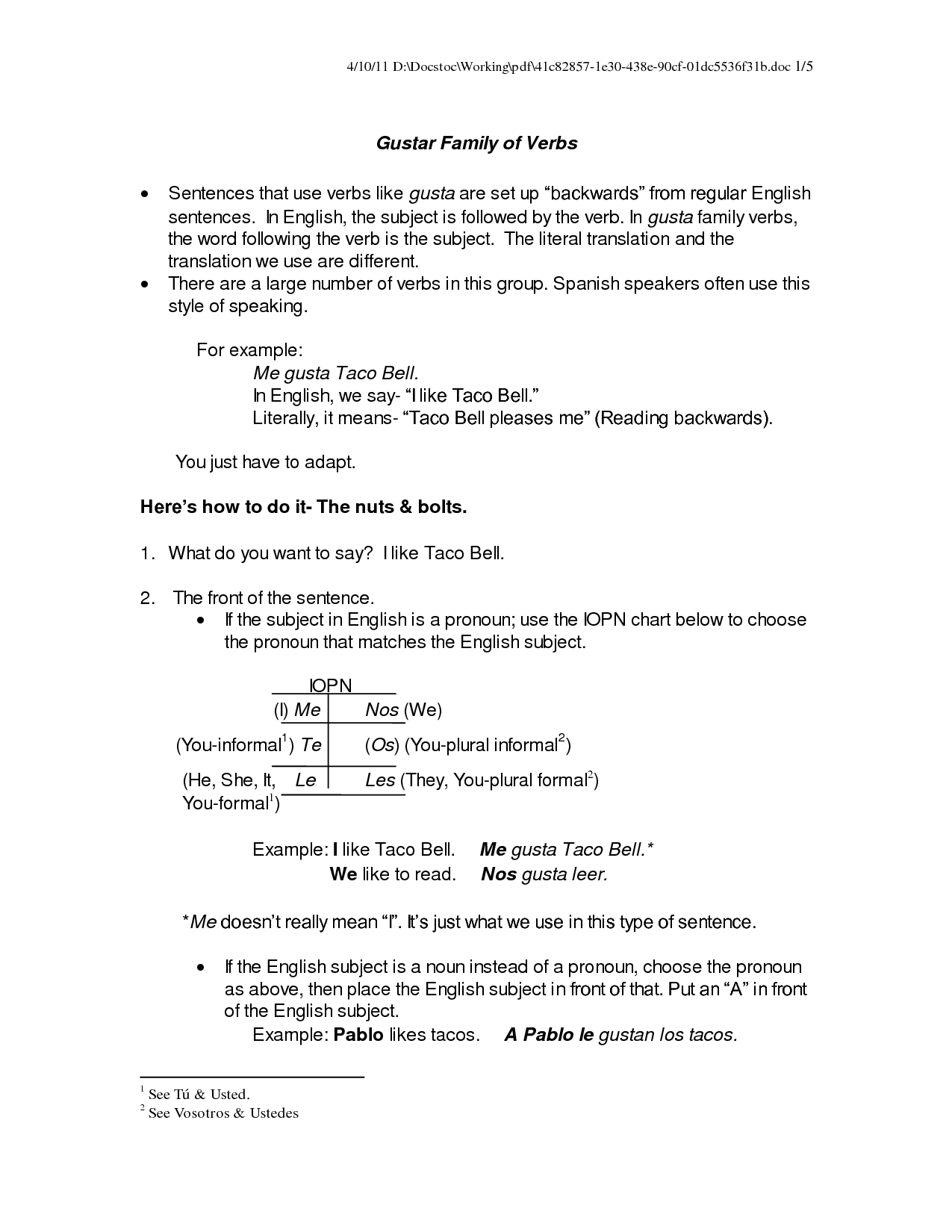 Worksheet Gustar And Similar Verbs Answer Key