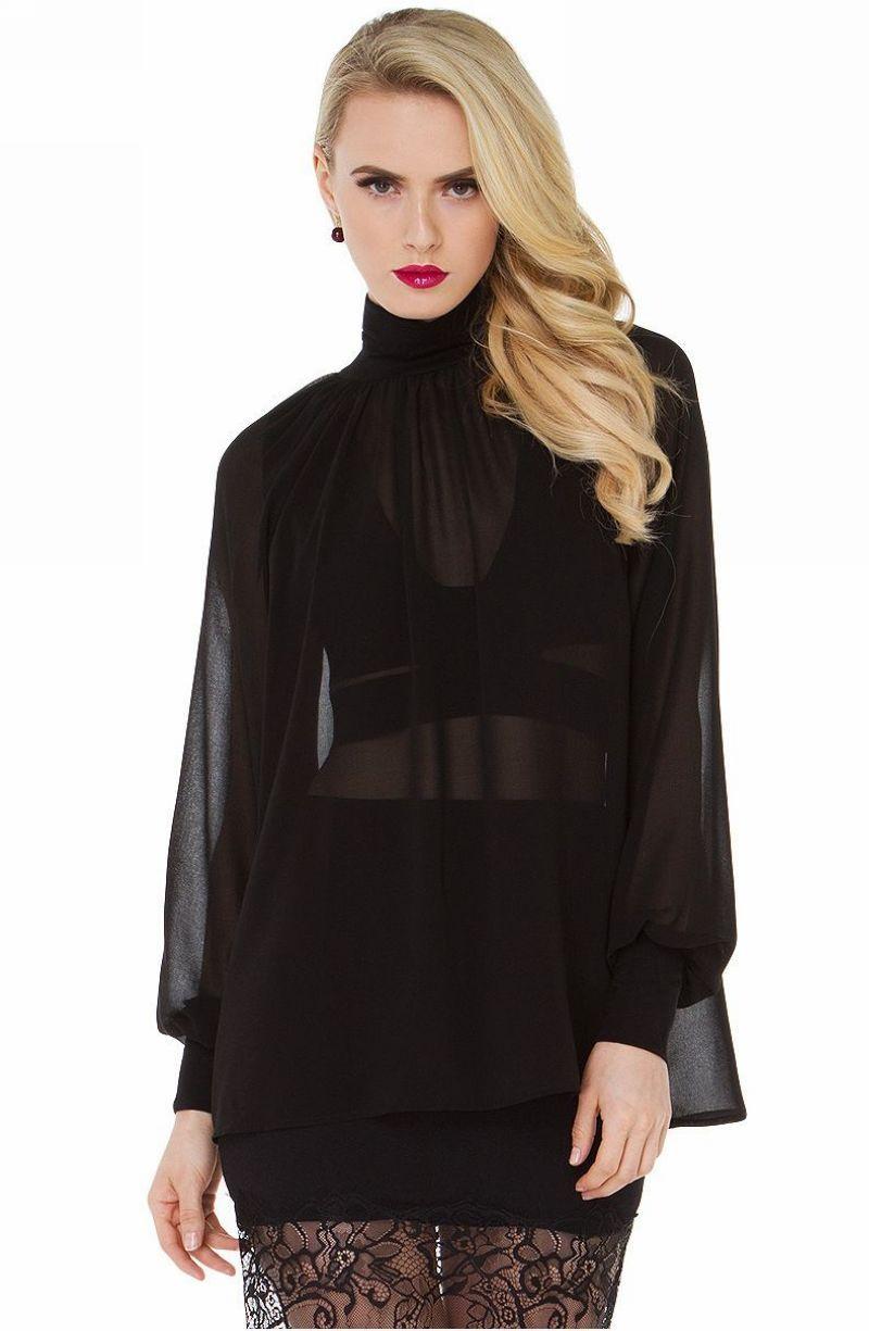 Loose Lantern Sleeve High-Neck Sheer Chiffon Blouse Shirt Black ...
