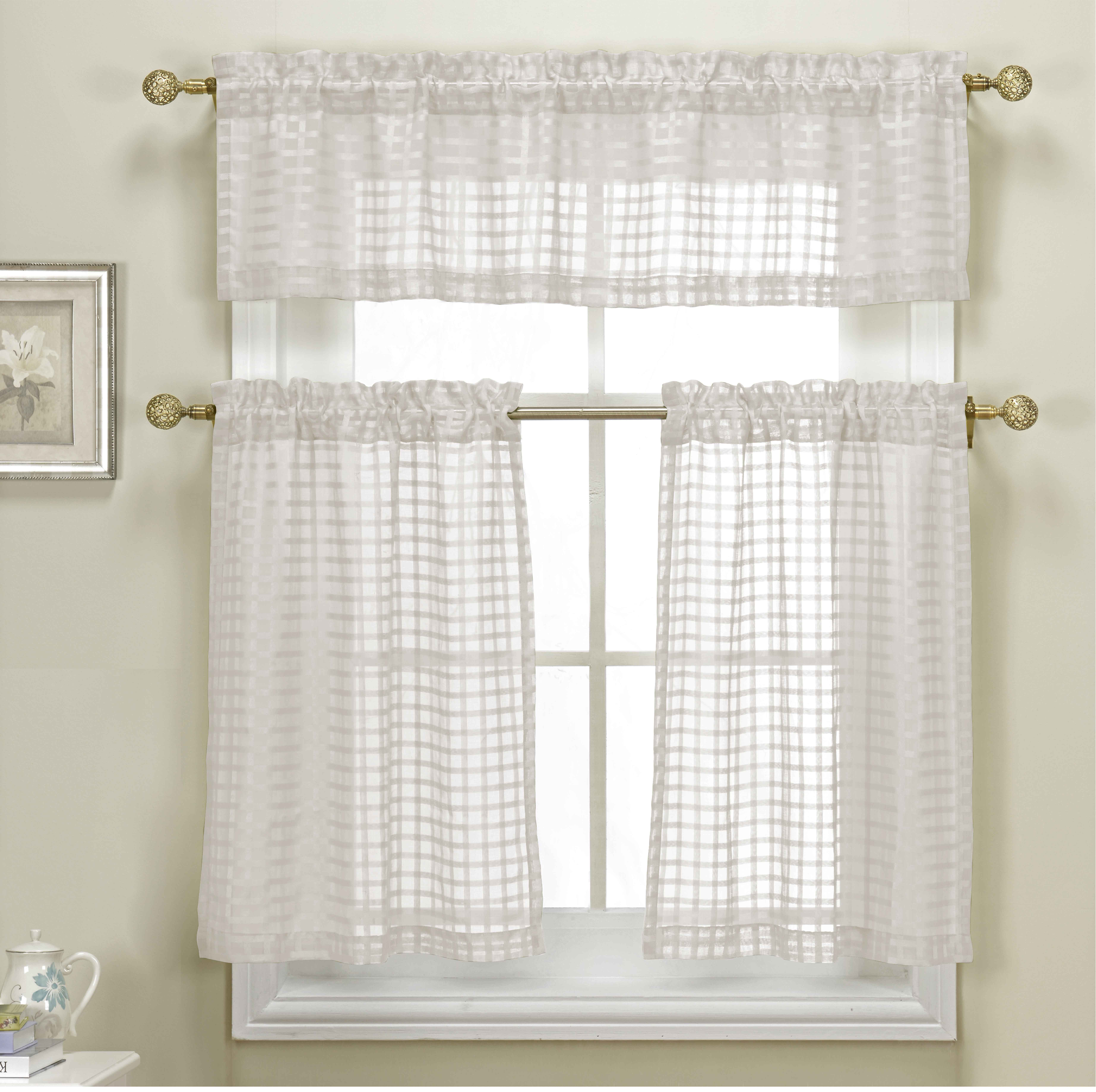 3 Piece White Sheer Kitchen Curtain Set Woven Check Design 1