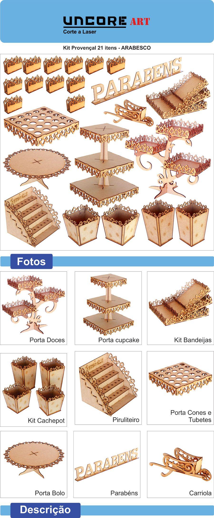 Kit Festa Provençal Mdf Arabesco - 33 Itens - Completo - R$ 107,50