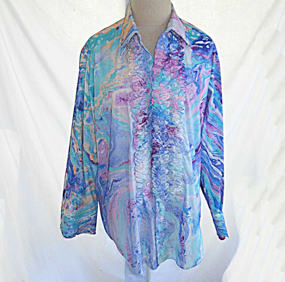 Tuxedo Shirt Vintage 60s Rat Pack Marble Print NOS Ruffle Multicolor M After Six