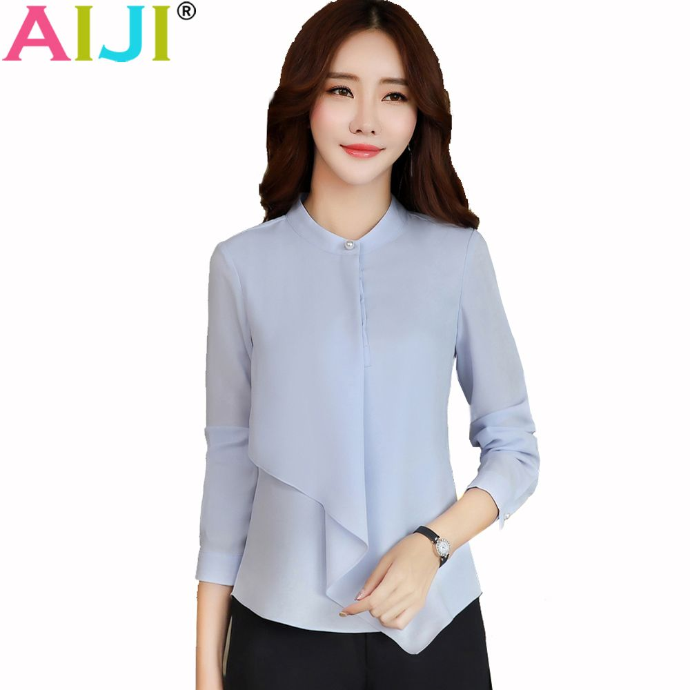 c68bc7cc12f5 Spring Summer Elegant Long Sleeve Blouses Women OL Career Collar Chiffon Shirts  Tops Ladies Office Business Plus Size Work Wear