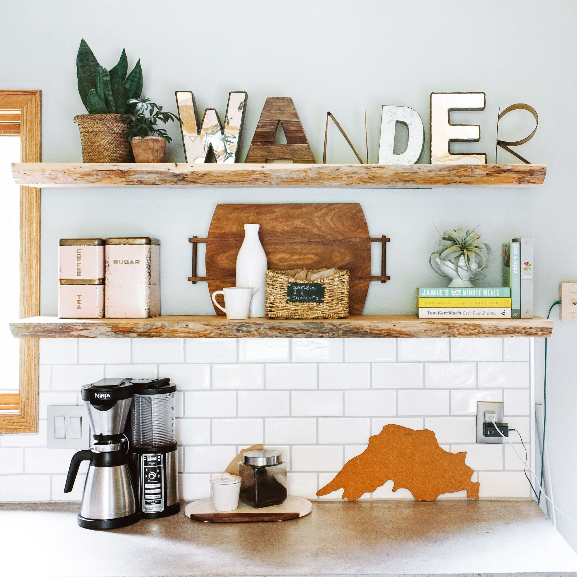 How to decorate kitchen open shelves live edge reclaimed wood how to decorate kitchen open shelves live edge reclaimed wood open shelving and subway dailygadgetfo Images