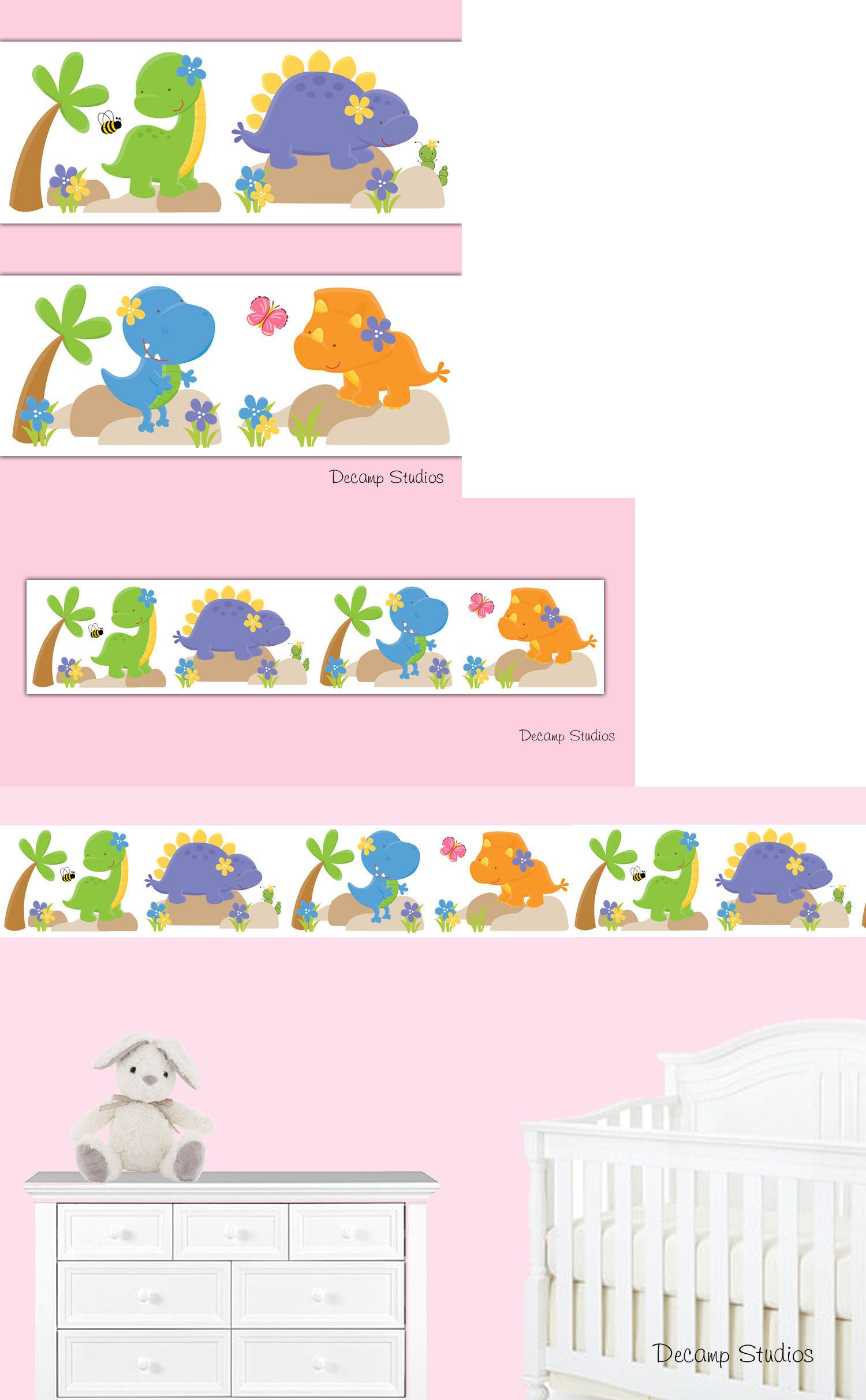 Bedroom Playroom And Dorm D Cor 115970 Dinosaur Nursery Wallpaper Border Wall Art Decals Kids Room Stickers It Now Only 10 On Ebay