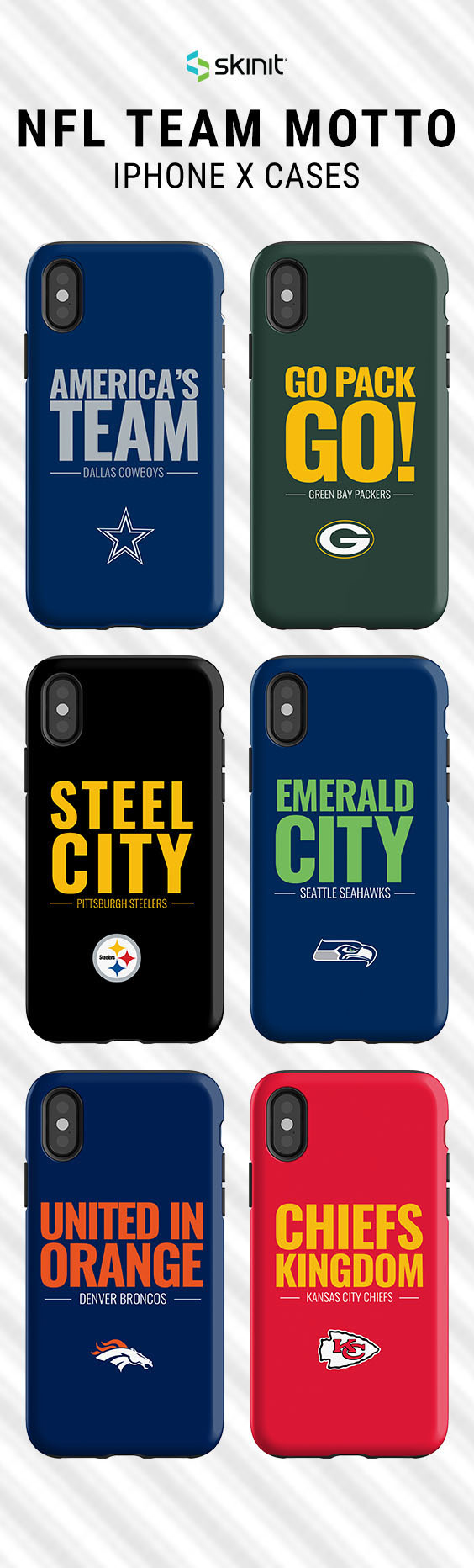 Rep Your Team With Our Team Motto Series Designs Explore Popular Nfl Iphone X Case Designs From Skinit X Nfl Skinit Has Partnered With Nf Nfl Teams Nfl Motto