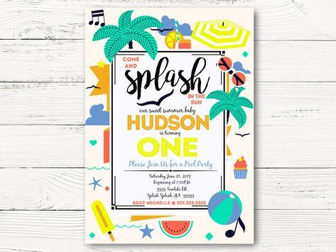 Pool Party First Birthday Invitation, Summer Party Invite, Baby Boy 1st Birthday Invitation, C057