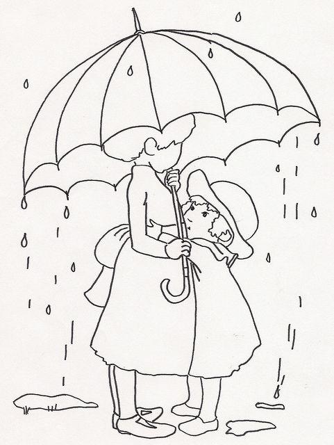 Sisters Under Umbrella In Rain Modele De Broderie Coloriage