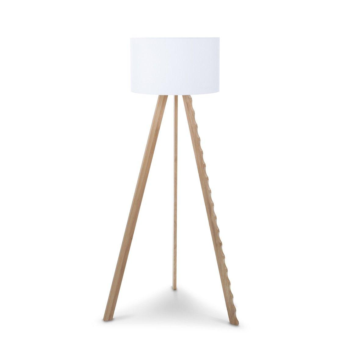 Lampadaire Blanc 3 Pieds Chene Petit Abat Jour 160cm Nia Blanc 12613900 0 Stehlampe Stehlampe Weiss Lampen