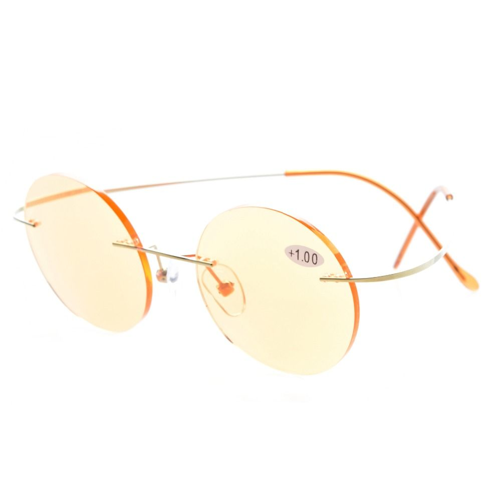 fb145b4f59 CG15026 Eyekepper Titanium Rimless Round Orange Tinted Lenses Computer  Reading Glasses Circle Readers