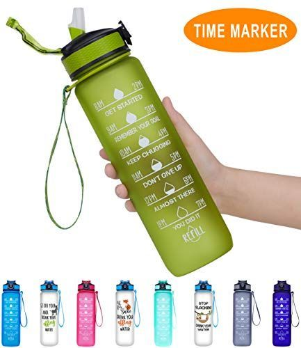 Giotto 32oz Large Leakproof BPA Free Drinking Water Bottle with Time Marker & Straw to Ensure You Dr...