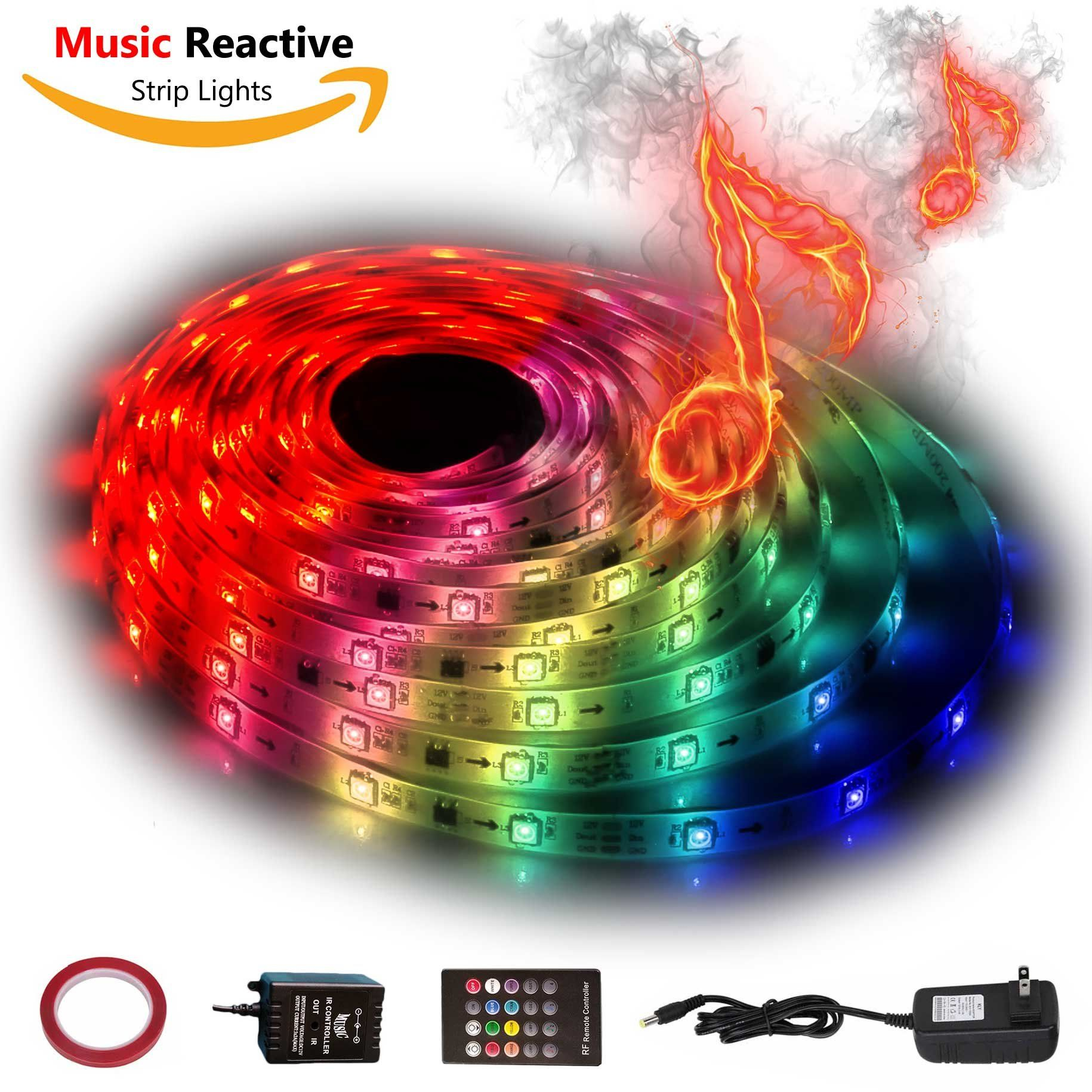 12V LED Strip Lights Sync To Beats of Music,Geekeep Music Reactive ...