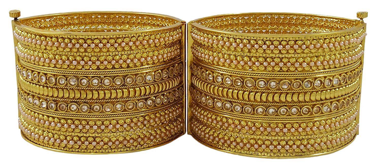 Matra gold tone kundan stone screw lock pcs kada bangle set ethnic