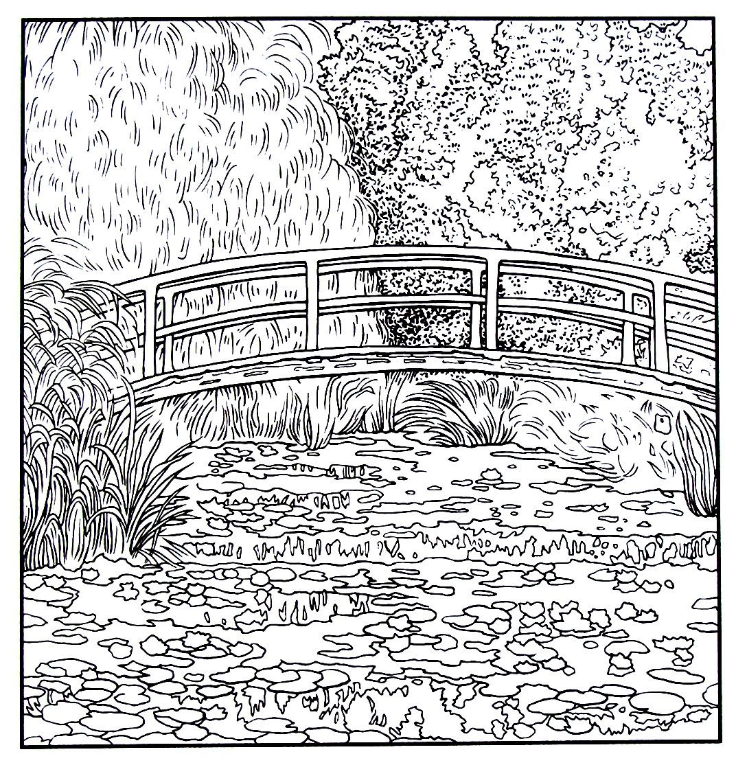 Japanese Footbridge And Water Lily Pond