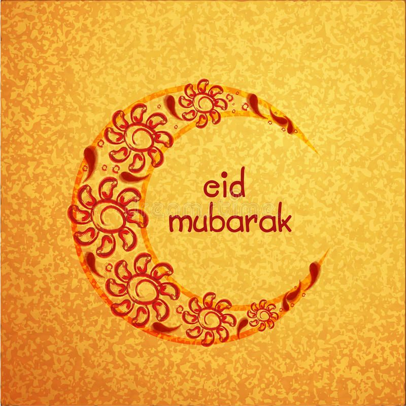 Illustration About Creative Crescent Moon Decorated With Beautiful Flowers On Grungy Yellow Background For Muslim Communit Floral Moon Eid Mubarak Illustration