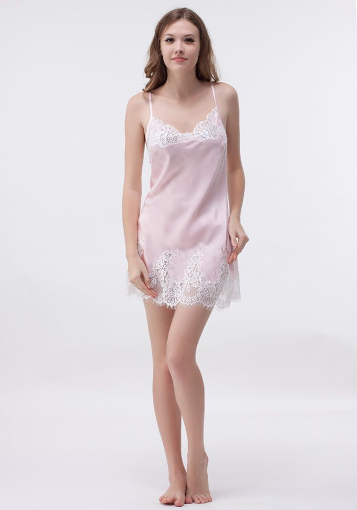 This classic babydoll is made of luxury silk satin with delicate lace adorned at bust and hem.