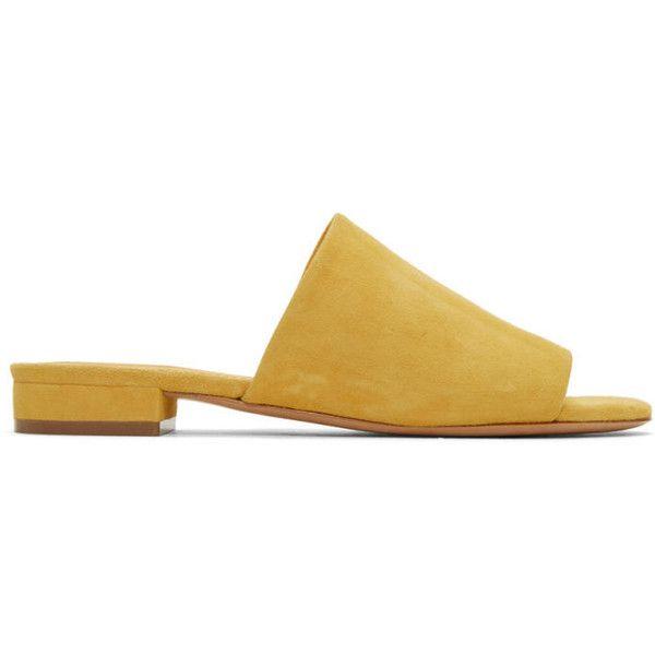 Mansur Gavriel Yellow Suede Flat Mules (20.765 RUB) ❤ liked