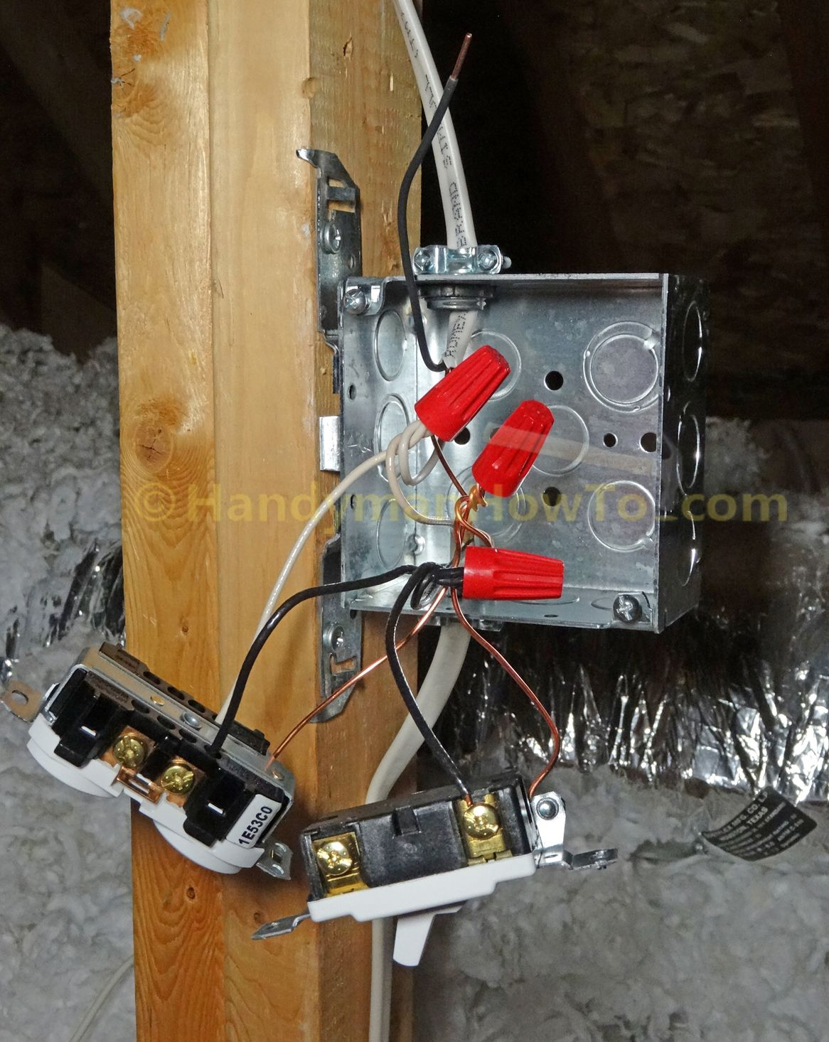 attic light and outlet junction box wiring connections house rh pinterest com Splicing Electrical Wires Junction Box Electrical Junction Box in Attic