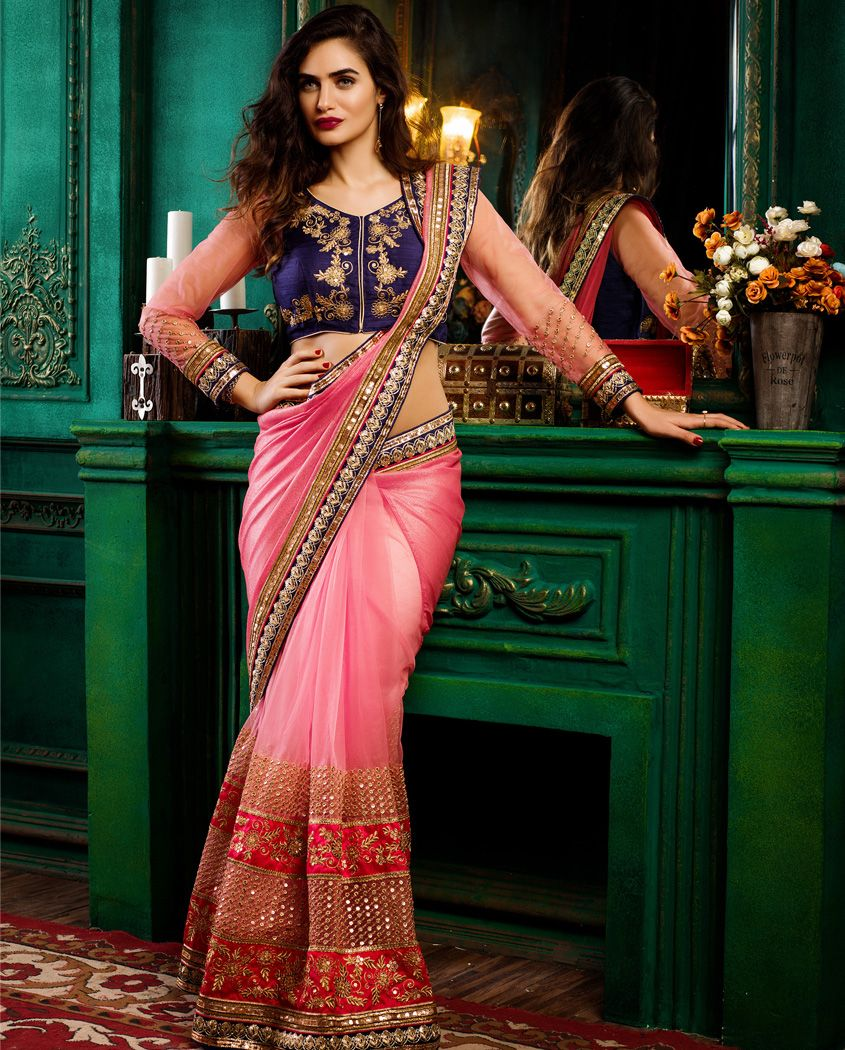 7961aa3406f81d 1. Pink shimmer georgette and net sari 2. Highlighted with hand work  borders and lace 3. Purple raw silk unstitched blouse with handwork and net  sleeves