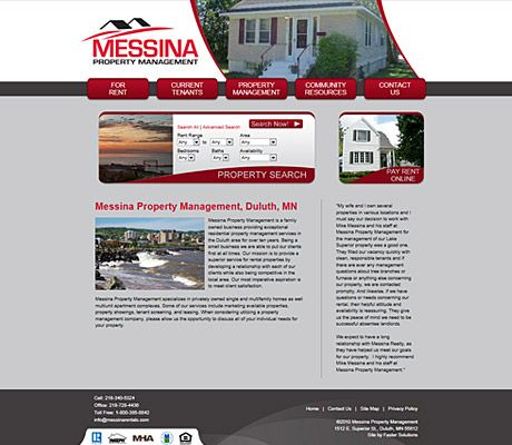 Messina Rentals Duluth Mn Website Design By Faster Solutions Inc Fastersolutions Com Web Design Developmen Real Estate Web Design Website Design Duluth Mn