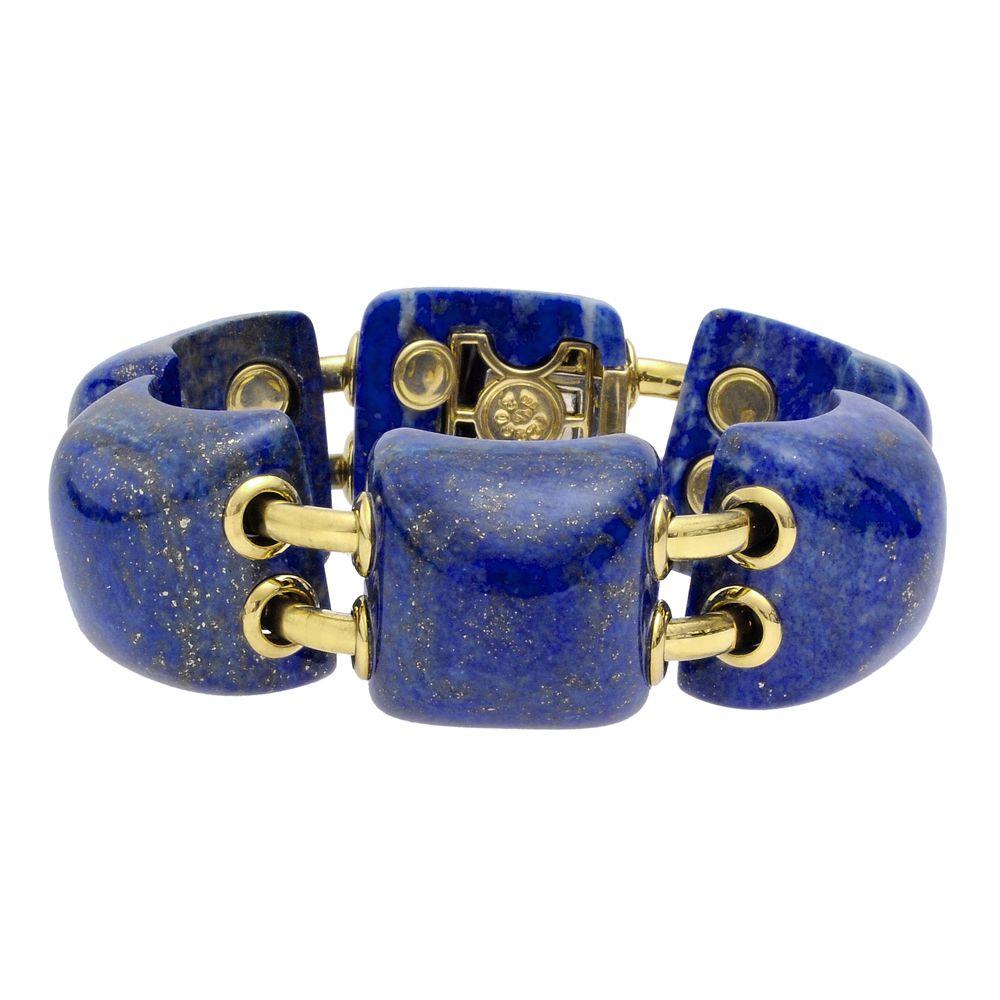 "Seaman Schepps ""Pyramid"" Lapis & 18k Gold Link Bracelet"