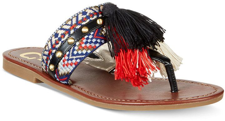 ca4d5be015c Circus by Sam Edelman Brice Embellished Fringe Thong Sandals Women s Shoes