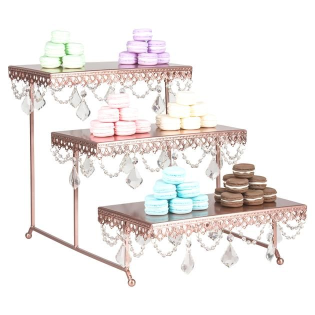 3 Tier Serving Platter And Cupcake Stand With Crystals Rose Gold Serving Platters Crystal Rose Dessert Stand
