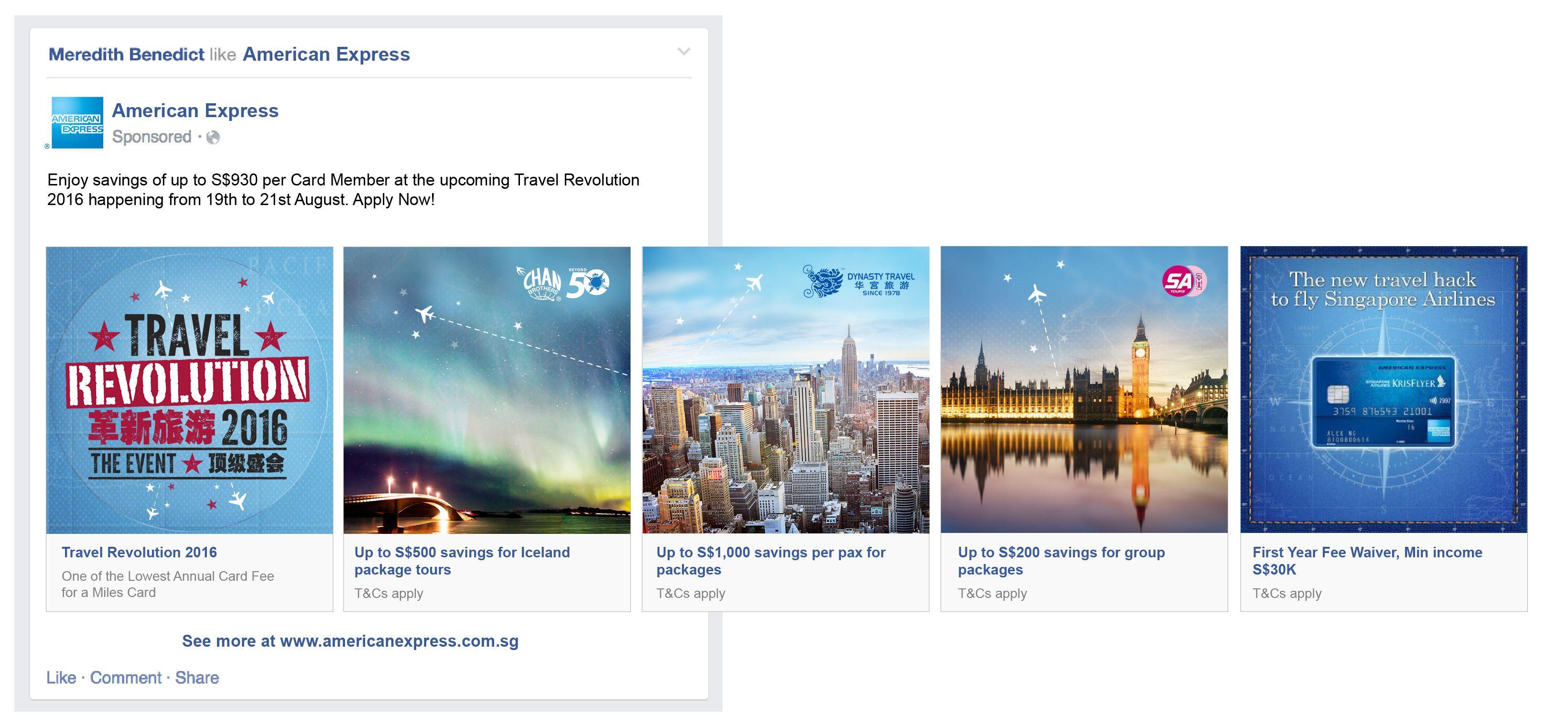 Ali Hanafiah Amex Facebook Carousel Ads Facebook Carousel Ads Ads Travel Ads