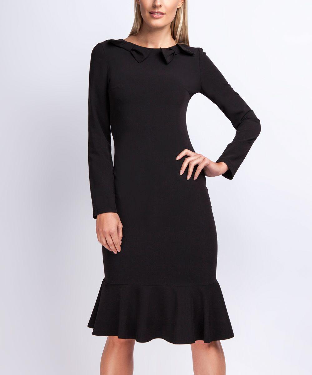 Black Bow-Accent Cocktail Dress