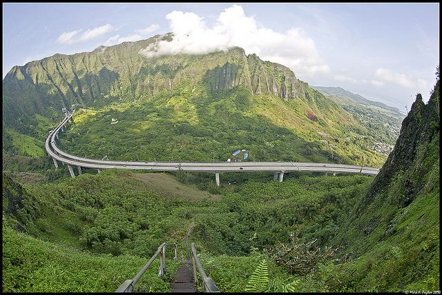 H3 Windward Side of Oahu , Hawaii. Stairs which leads to ...