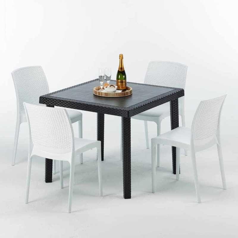 Table Carrée Noire 90x90cm Avec 4 Chaises Colorées Grand ...