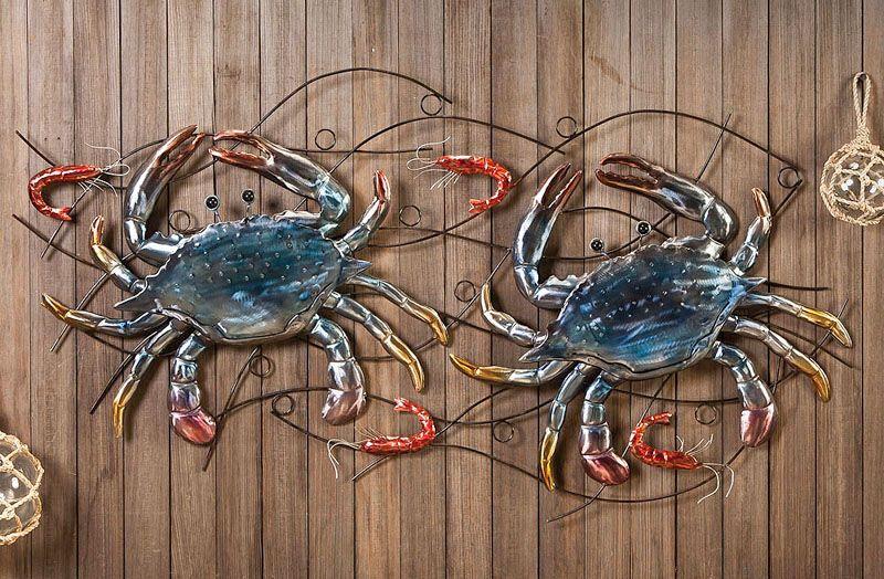 Painted Metal Crab Wall Hook Metal Hook Tropical Decor 5 X 6 Nautical Art Metal Wall Decor Outdoor Garden Art K Metal Crab Tropical Decor Nautical Art