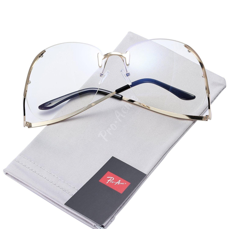 7cd0c5a2f2 Fashion Oversized Rimless Sunglasses Women Clear Lens Glasses ...