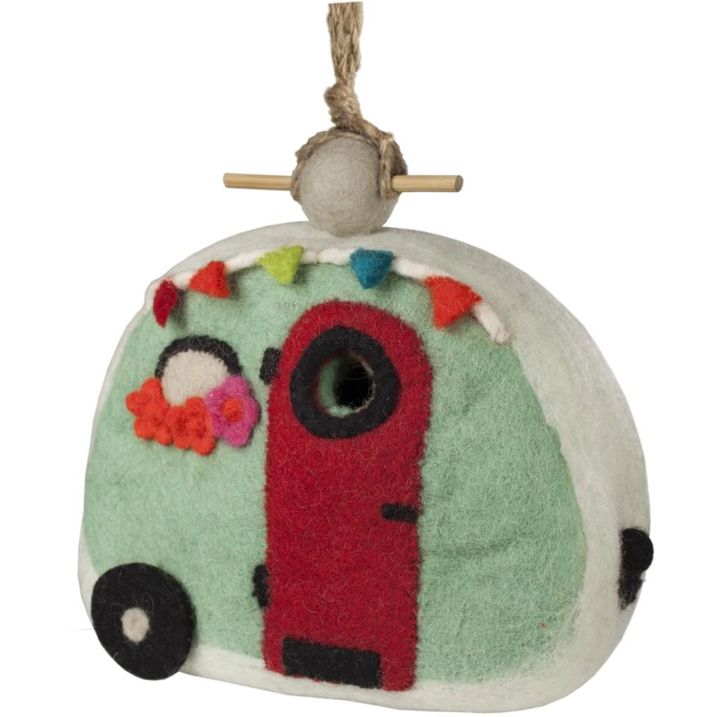 Felt Retro Camper Birdhouse - Wild Woolies. This hand-felted wool birdhouse is made of sustainably harvested, naturally water repellent wool. Surface moisture from dew, rain or snow quickly dries in the open air. Wool is also naturally dirt and mold resistant. The 1.25 inch hole can be enlarged to 1.5 inches to appeal to larger birds. Measures 9 inches tall by 10 inches wide