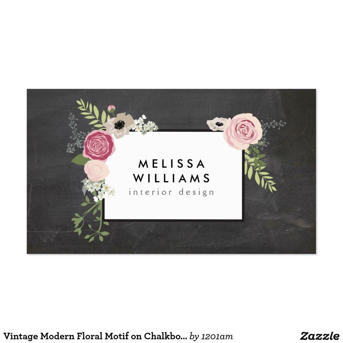 Vintage Modern Floral Motif on Chalkboard Designer Business Card ...