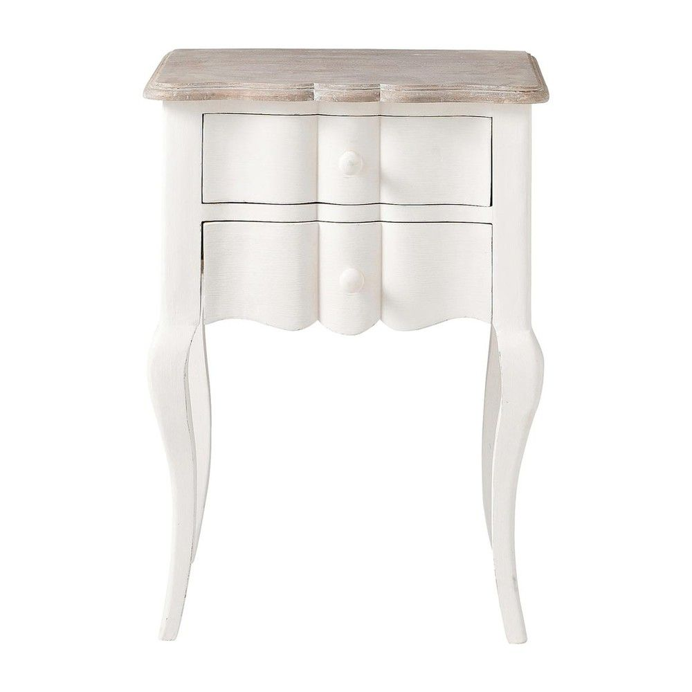 Table de chevet avec tiroirs en manguier blanche L 48 cm | Bedrooms ...