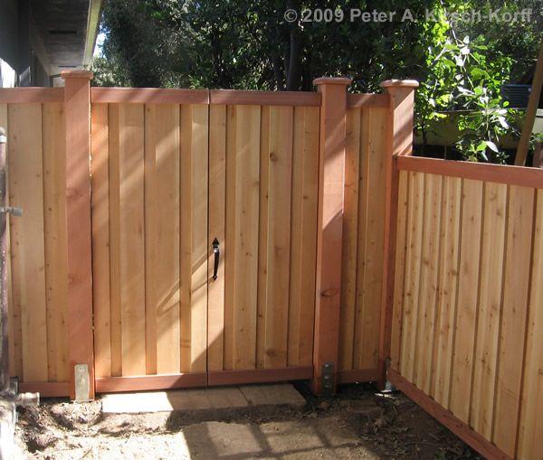 Modern Vertical Cedar Wood Fence  Gate (matching gate detail) - Pasadena, CA