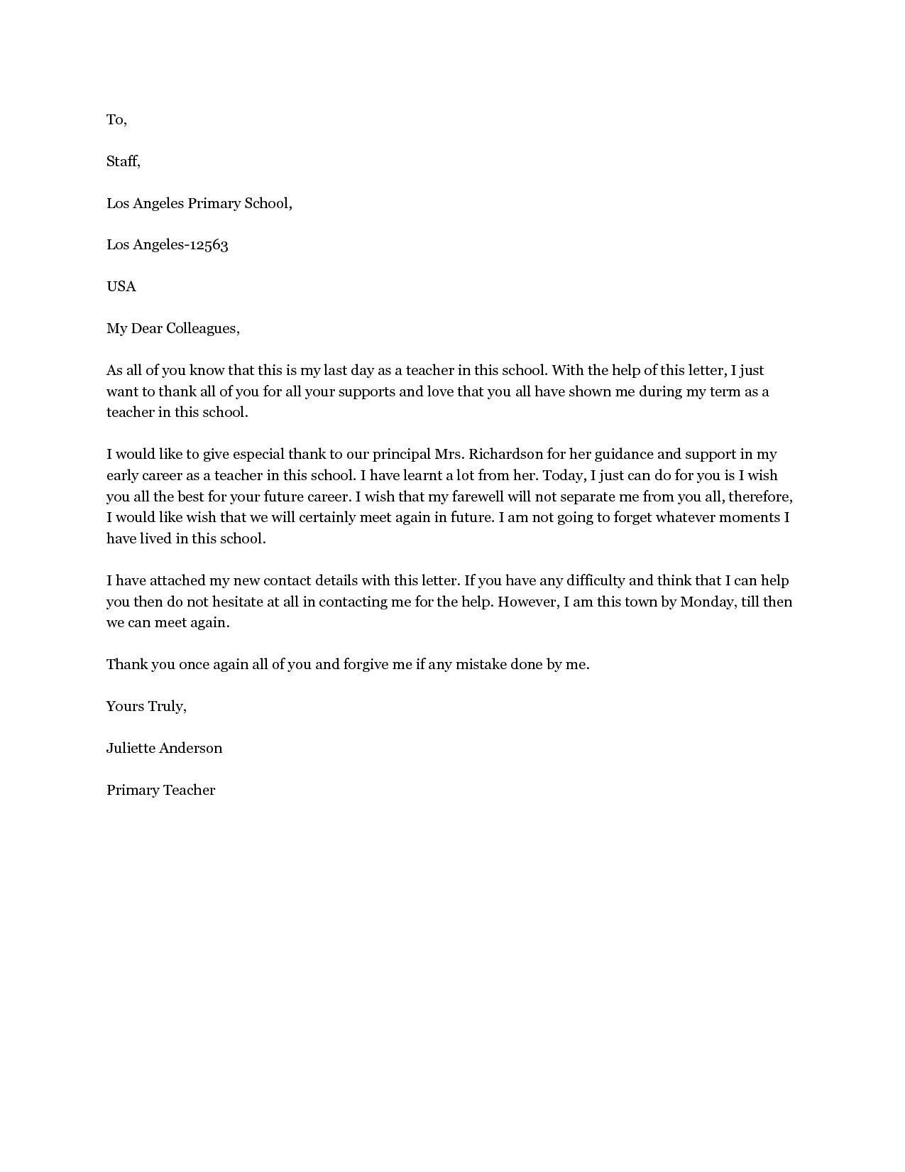 Valid Good Bye Letter To Teacher Goodbye Letter To Colleagues