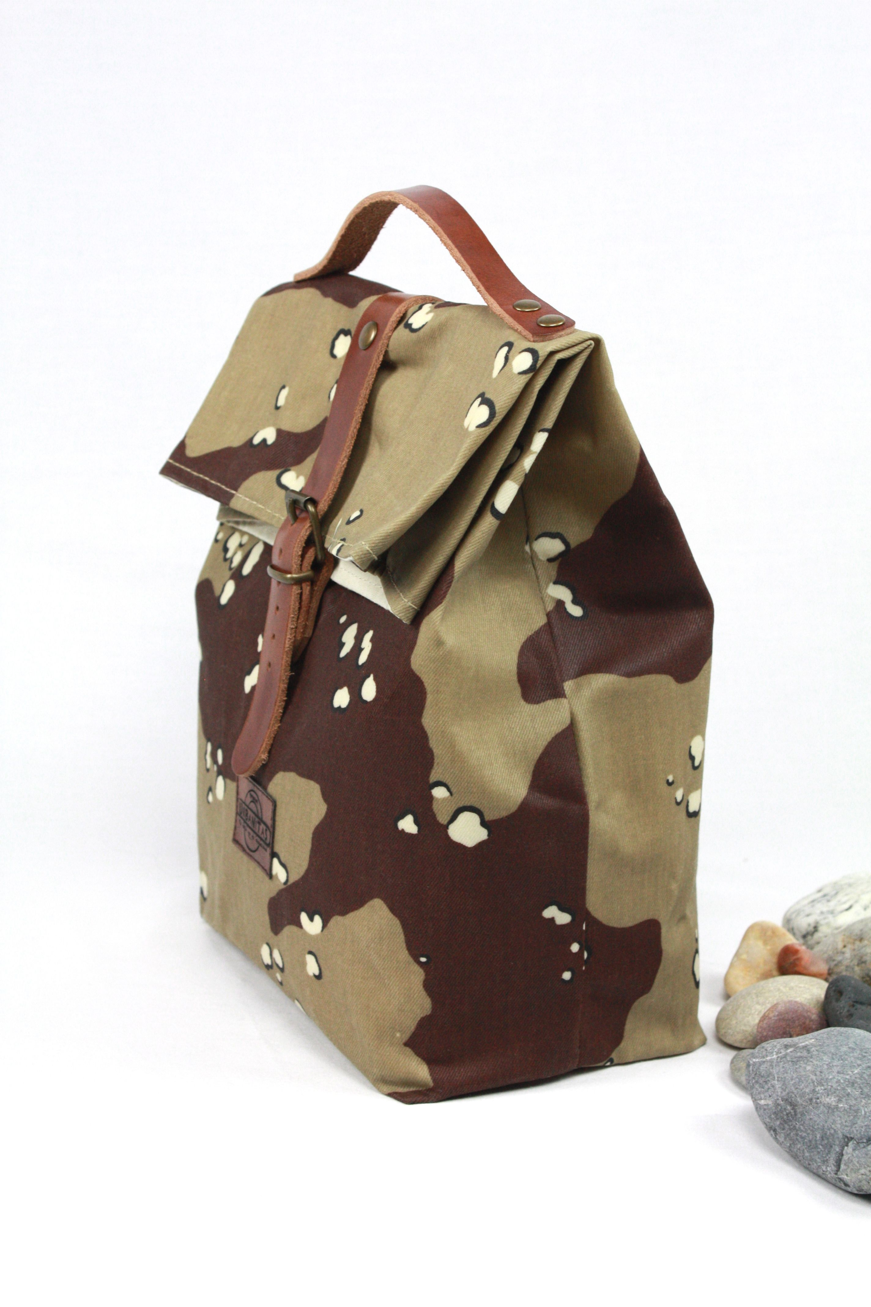 Lunch bag waxed canvas desert camouflage lunch bag tote lunch bag etsy gumiabroncs Images