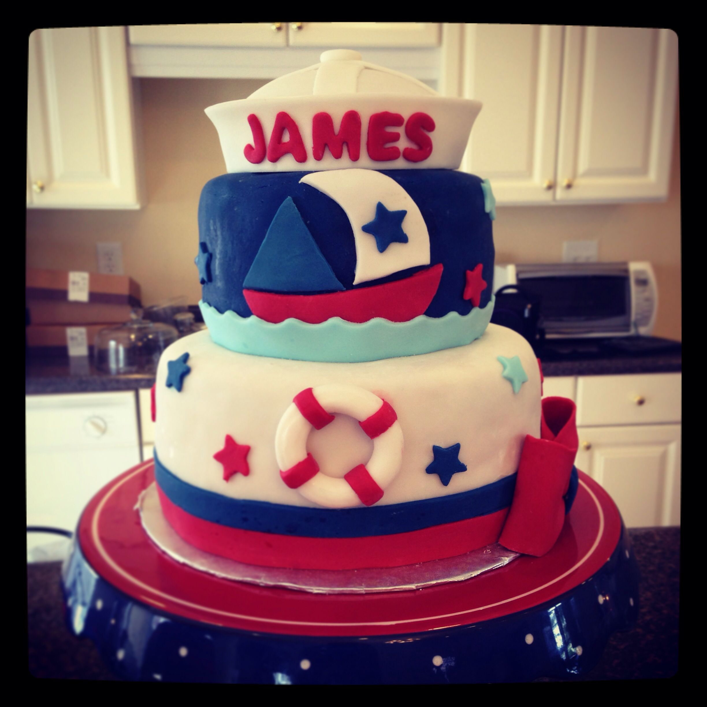 Nautical sailor themed baby shower cake