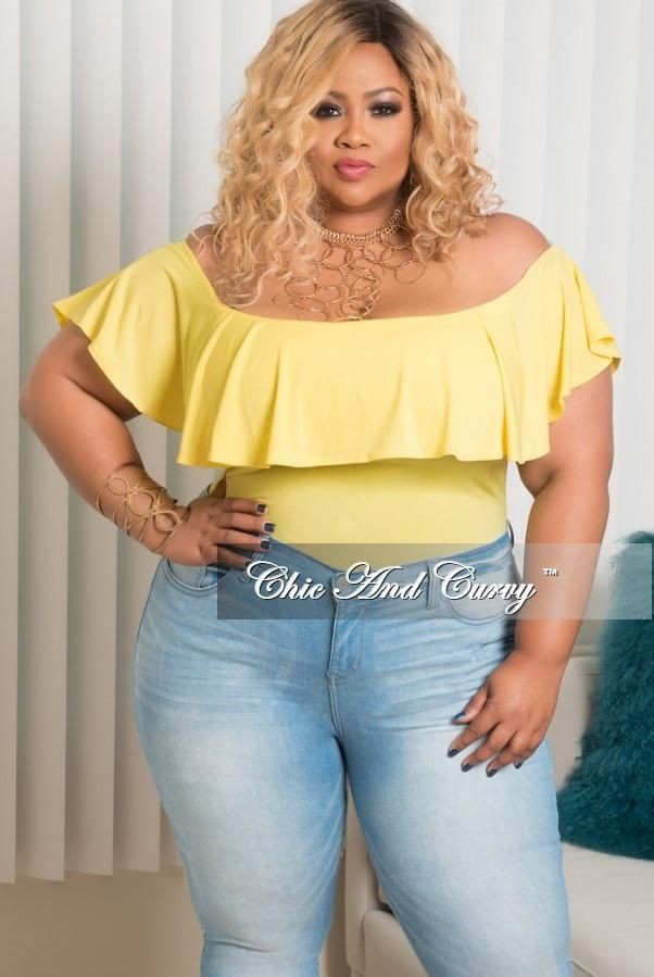 plus size off the shoulder ruffle bodysuit in yellow – chic and