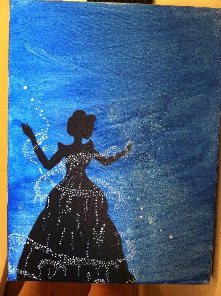 Cinderella canvas painting super easy and fun to make for How to paint something easy
